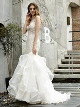 Hochzeit Brautkleider Meerjungfrau ärmellose V-Ausschnitt Spitze Brautkleider mit Zug