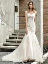 Wedding Dress Jewel Neck Sleeveless Natural Waist Lace Bridal Mermaid Dress With Train