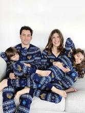 Family Christmas Pajamas Christmas Pattern Blue Family Jumpsuit
