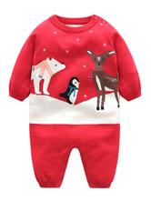 Carnevale Tuta natalizia per bambini imbottita in maglia rossa con pigiama Kigurumi Halloween