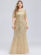 Prom Dress Jewel Neck A Line Short Sleeves Sequins Pageant Dresses Plus  Size Dress