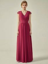 Brautjungfernkleider mit V-Ausschnitt A-Linie bodenlanges Chiffon-Hochzeitskleid