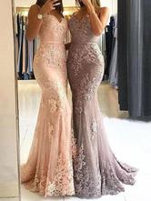 Abendkleider V-Ausschnitt Hochzeit ärmellos Peach Satingewebe Formelle Kleider Mermaid- mit Reißverschluss Mit Schleppe 30cm und Spitzen
