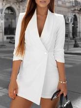 Streetwear Women Blazer Playsuit Romper Half Sleeve V Neck Button Female Jumpsuit Autumn Winter Office Ladies Overalls