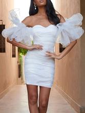 Etuikleid Weiß Kleider Organza kurz trägerlos Damenmode für Sommer