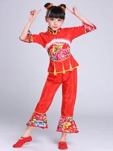 Criança Trajes Chineses Peônia Vermelha Roupa Flor Trajes Carnaval