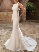 Simple Wedding Dress Lycra Spandex Jewel Neck Sleeveless Lace Mermaid Bridal Dresses