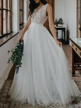 Vestidos de novia sencillos de línea A sin mangas Vestidos de novia Boda Marfil con cuello en V cintura natural de encaje de tul Sin espalda