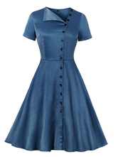 Vintage Dress Womens Blue Short Sleeve Buttons 1950s Swing Retro Dresses