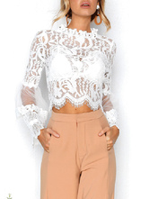 Blusa para mulheres Branco Sheer Lace Stand Collar Sexy mangas compridas Lace Tops