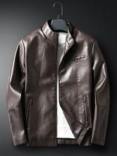 Veste en cuir classique pour hommes du printemps