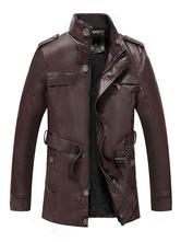 Chaquetas de cuero con cinturón de palangre para hombre Espesar abrigos de invierno