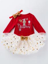 Faschingskostüm Kid Christmas Set Pailletten Vergoldung Tutu Rock Mit Baumwolle Top Weihnachten Muster Urlaub Kostüme Karneval Kostüm