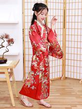 Disfraz Halloween Disfraces japoneses para niños Kimono rojo Vestido de satén de poliéster Conjunto oriental Disfraces de vacaciones Carnaval Halloween