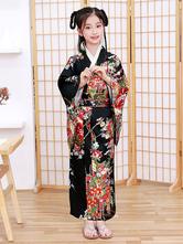 Детские японские костюмы Черное кимоно Атласное платье из полиэстера Восточный комплект Праздничные костюмы