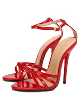 "Women's Sexy Strappy Sandals Stiletto Heel Red 5.1"" High Heel Seductive Shoes"