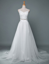 Vestido de noiva com decote em v sem mangas frisada capela trem duas peças vestidos de noiva