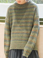 Pullovers For Women Green Crochet Stripes Jewel Neck Long Sleeves Oversized Sweaters