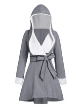 Coat For Woman Two Tone Hooded Lace Up Retro Layered Light Gray Winter Coat