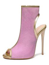 """Damen Glitter Sommer Stiefel rückenfreie Peep Toe 4,9 """"Stiletto Heel Stiefel"""