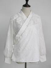 Wa Lolita Blouses Lace Jacquard Lolita Top White Lolita Shirt