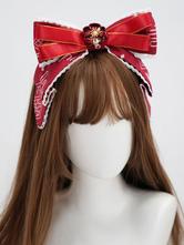 Chinese Style Lolita Headdress Red Lace Polyester Fiber Accessory Flowers Lolita Headband
