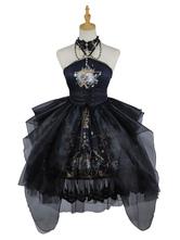 Gothic Lolita JSK Dress Black Sleeveless Chains Pearls Lolita Jumper Skirts