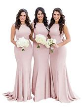 Vestidos de dama de honra Sereia Jewel Neck Zipper Lycra Spandex até o chão vestido de festa de casamento