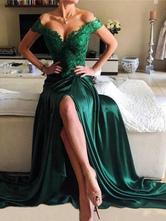Вечернее платье A Line V-образным вырезом из эластичного атласного пола Длина пола Сплит Платья для вечеринок