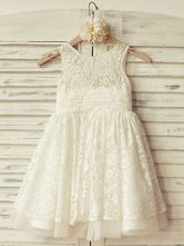 Flower Girl Dresses Jewel Neck Tulle Sleeveless Knee Length Princess Silhouette Lace Kids Party Dresses