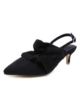 Women's Mid-Low Heels Pointed Toe Kitten Heel Slingbacks Black Pumps