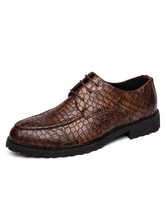 Dress Shoes For Man Round Toe Croco Print Derby Shoes