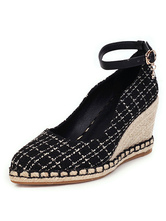 Wedge Heel Espadrilles For Lady Pointed Toe Ankle Strap Woman's Shoes