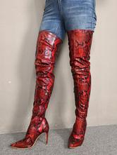 Mulheres Sexy Coxa Botas de Salto Alto Dedo Apontado Cobra Estilete Sapatos de Festa de Salto Sobre O Joelho Botas