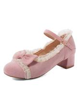 Sweet Lolita Shoes Lolita Pumps aus Micro-Wildleder mit rosa Schleife und hohem Absatz