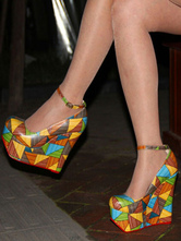 Wedge Shoes For Lady Chic Geometric Round Toe Ankle Strap Woman's Pumps