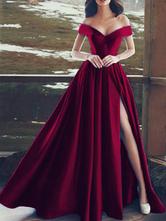 Abendkleider V-Ausschnitt Hochzeit A-Linie- Satingewebe Kurzarm Formelle Kleider mit Reißverschluss Burgunderrot  bodenlang