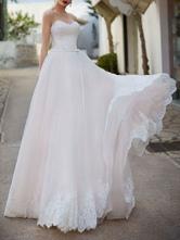 Hochzeitskleid Sweetheart Neck Sleeveless bodenlangen Spitze Brautkleider mit Zug