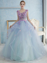 c2e07ab5b43 Pastel Blue Quinceanera Dress Tulle Princess Pageant Dress Pearl Flower  Sash V Neck Floor Length Prom