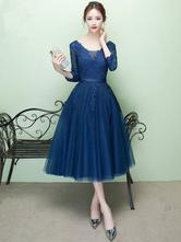 Short Prom Dress V Neck Lace Applique Tulle Cocktail Dress 3/4 Sleeve A Line Tea Length Party Dress