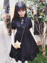 Gothic Lolita Dress Castle In The Moonlight OP Black Chiffon Lolita One Piece Dress
