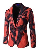 Men Blazer Casual Two Tone Turndown Collar Slim Fit Cotton Print Blazer For Men