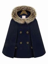 Hooded Cape Coat Double Breast Faux Fur Trim Woolen Coat Poncho Cloak For Women