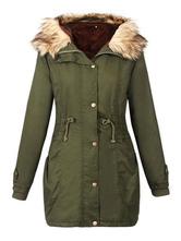 Women Parka Coat Faux Fur Collar Hunter Green  Hooded Long Sleeve Drawstring Winter Coat