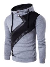 Men's Overhead Hoodie Color Block Patchwork Button Hooded Sweatshirt