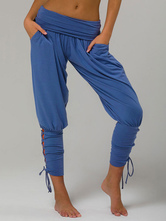 Pajama Pants High Waisted Lace Up Tapered Fit Trousers For Women