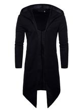 Black Hoodie For Men Plus Size Irregular Design Long Sleeve Spring Coat