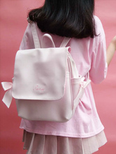 White Sweet Lolita Bag PU Solid Color Backpack