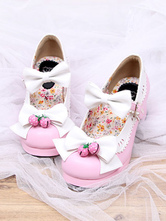 Lolitashow Pink Lolita Shoes Strawberry Bow PU Shoes for Women