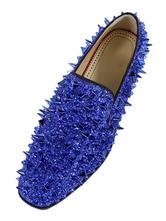 Zapatos Milanoo Spike Loafers para hombre Zapatos de baile con punta redonda azul brillante